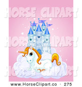 Clip Art of a Cute White Unicorn Resting on a Cloud in Front of a Blue Castle on a Pink Background by Pushkin