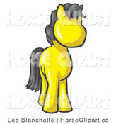 Clip Art of a Cute Yellow Pony Horse with a Black Mane Looking out at the Viewer by Leo Blanchette
