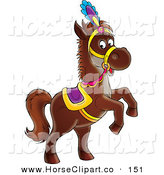 Clip Art of a Dark Brown Horse in a Purple and Gold Saddle, Hat and Reins, Standing up on Its Hind Legs by Alex Bannykh