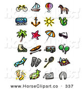 Clip Art of a Digital Collage of a Bike, Sailboat, Air Balloon, Horse, Bus, Anchor, Sun, Cactus, Tree, Starfish, Umbrella, Sunglasses, Boot, Canoe, Camper, Ping Pong on White by NL Shop