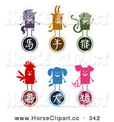 Clip Art of a Digital Collage of a Horse, Ram, Monkey, Rooster, Dog and Boar Chinese Zodiac Animal Characters Standing on Their Respective Symbols by NL Shop