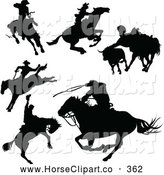 June 24th, 2013: Clip Art of a Digital Collage of Black Cowboy and Horseback Riding Silhouettes by Pushkin
