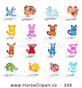 Clip Art of a Digital Collage of Colorful Animals by NL Shop