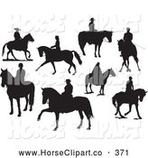 Clip Art of a Digital Collage of Eight Silhouettes of People on Horses, on White by