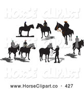 Clip Art of a Digital Collage of Seven Black Horse or Cowboy Silhouettes by Leonid