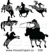 June 20th, 2013: Clip Art of a Digital Set of Black Cowboy Silhouettes by Pushkin