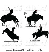 Clip Art of a Digital Set of Four Rodeo Silhouettes by Leonid