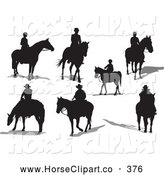 July 10th, 2013: Clip Art of a Digital Set of Seven Horse Riders with Shadows by Leonid