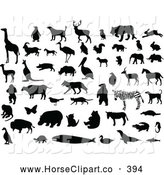 August 2nd, 2013: Clip Art of a Digital Set of Silhouetted and Black and White Animals by Leonid