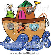 Clip Art of a Doodle of a Horse and Other Animals on Noah's Ark by Prawny