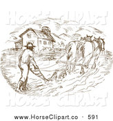 Clip Art of a Farmer and Horse Plowing a Field by Patrimonio
