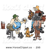 Clip Art of a Fat Drunk Man with an Emu, Lizard and Another Man on a Horse by Dennis Holmes Designs