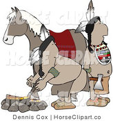 Clip Art of a Fire with Natives and Horse by Djart