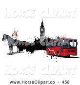 Clip Art of a Formal London Guard, Big Ben and Red City Bus by