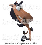 Clip Art of a Friendly 3d Charlie Horse Character Facing Front and Waving Around a Sign by Julos