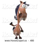 Clip Art of a Friendly 3d Charlie Horse Character Facing Front and Waving by Julos