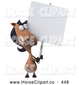 Clip Art of a Friendly 3d Horse Character with a Blank Sign by Julos