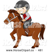 Clip Art of a Friendly Happy Boy Equestrian Riding a Horse by BNP Design Studio