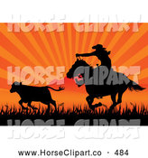 Clip Art of a Friendly Silhouetted Cowboy on Horseback Roping Cattle Against an Orange Sunset by Pushkin