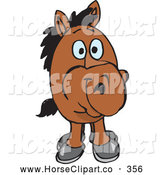 June 18th, 2013: Clip Art of a Funny Short Brown Horse Facing Front by Dennis Holmes Designs
