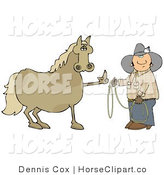 Clip Art of a Fussy and Mad Brown Horse Flipping off a Confused Cowboy Who Is Trying to Put a Lasso Around Him by Djart