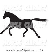 Clip Art of a Galloping Black Silhouetted Horse Trotting Left by KJ Pargeter