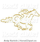 Clip Art of a Girl Horseback Riding and Facing Right by Andy Nortnik