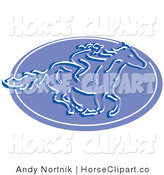 Clip Art of a Girl Riding a Horse on a Blue Oval by Andy Nortnik