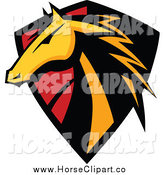 Clip Art of a Golden Horse Head Badge Shield by Chromaco