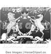 Clip Art of a Gray and White Crown, Lion, and Unicorn on a Coat of Arms in Grunge by AtStockIllustration