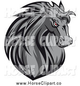Clip Art of a Gray Horse Head with Red Eyes by Vector Tradition SM