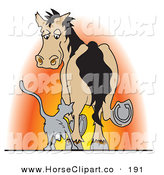 Clip Art of a Gray Kitty Cat Rubbing Against a Horse's Leg at Sunset by Andy Nortnik