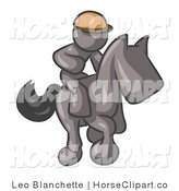 Clip Art of a Gray Man, a Jockey, Riding on a Matching Race Horse and Racing in a Derby by Leo Blanchette