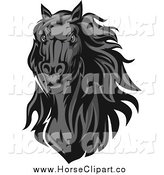 Clip Art of a Grayscale Horse Head by Vector Tradition SM