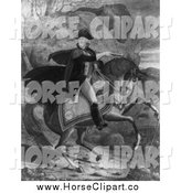Clip Art of a Grayscale Horseback Washington Crossing the Delaware by JVPD
