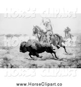Clip Art of a Grayscale Scene of a Native American Hunting Bison by JVPD