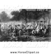 Clip Art of a Grayscale Scene of the Battle of the Monongahela by JVPD