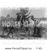 Clip Art of a Grayscale Scene of the Discovery of the Mississippi by Ferdinand De Soto by JVPD