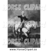 Clip Art of a Grayscale Scene of Washington Receiving a Salute on the Field of Trenton by JVPD