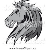 Clip Art of a Grayscale Tough Stallion Head by Vector Tradition SM
