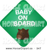 Clip Art of a Green Horse Baby on Board Diamond Sign on White by Kheng Guan Toh