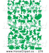 Clip Art of a Green Land and Sea Animal Silhouettes in Green on a White Background by Alex Bannykh