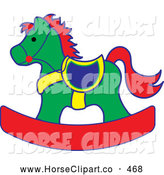 Clip Art of a Green, Red and Yellow Children's Toy Rocking Horse by Pams Clipart