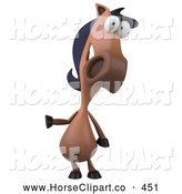 Clip Art of a Grinning 3d Horse Character Pointing Left by Julos