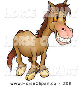 Clip Art of a Grinning Brown Horse with Orange Eyes Looking Right by Dero