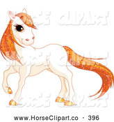 August 4th, 2013: Clip Art of a Grinning Cute White Horse with Golden Hooves and Orange Sparkly Hair by Pushkin