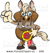 Clip Art of a Grinning Horse Character Wearing a Best Dad Ever Ribbon by Dennis Holmes Designs