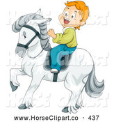 Clip Art of a Grinning Little Boy Riding a Majestic White Horse by BNP Design Studio
