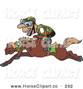 Clip Art of a Grinning Riding Jockey Riding Low on Horseback on White by Dennis Holmes Designs