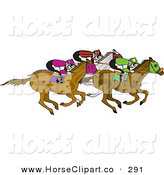 Clip Art of a Group of Jockeys Racing on Their Horses on White by Dennis Holmes Designs
